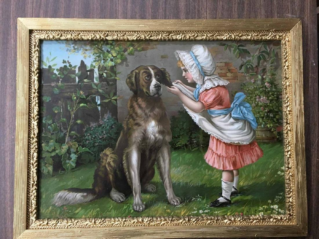 COLOR PRINT, GIRL WITH DOG
