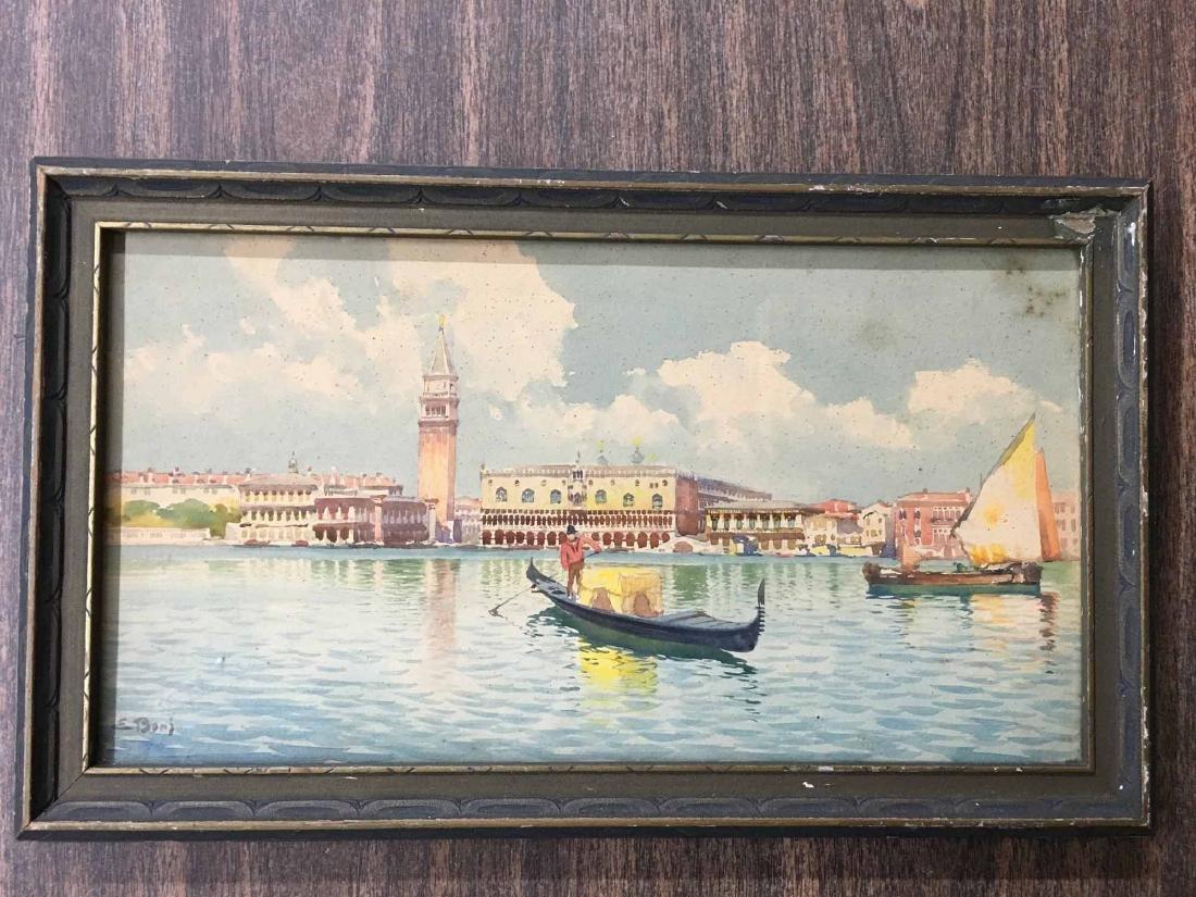 WATERCOLOR ON PAPER, VENETIAN CANAL SCENE