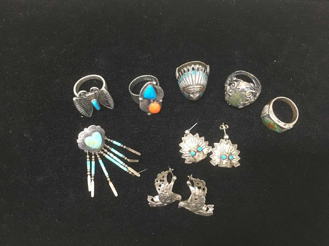 GROUP OF ASSORTED STERLING SILVER JEWELRY - 4
