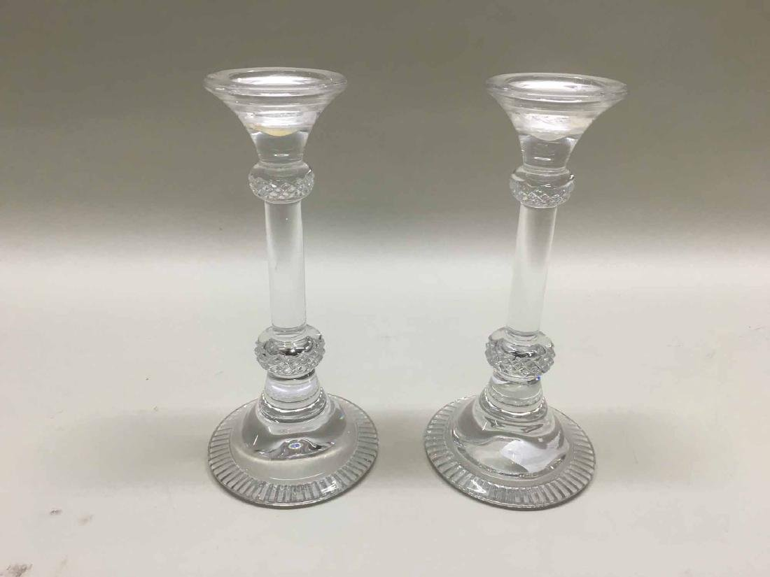 PAIR OF NAMBE COLORLESS GLASS CANDLESTICKS