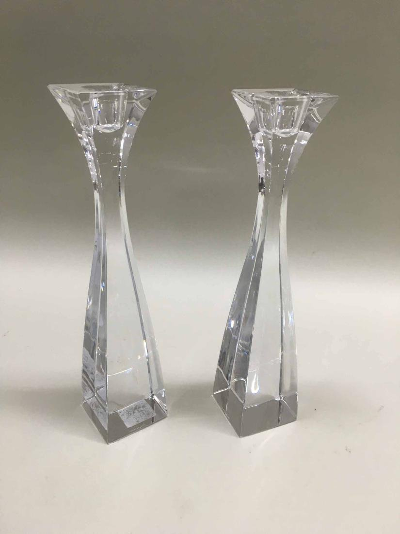 PAIR OF NAMBE COLORLESS GLASS CANDLESTICKS - 2