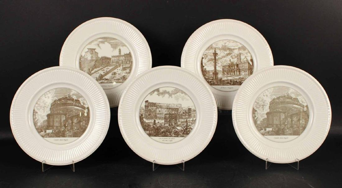 FIVE WEDGWOOD TRANSFERWARE PLATES