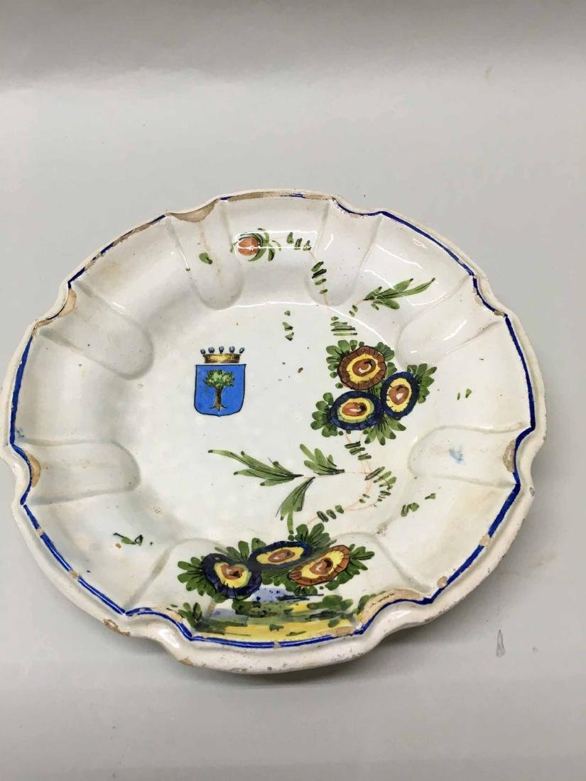 FRENCH BLUE AND FLORAL DECORATED PLATE