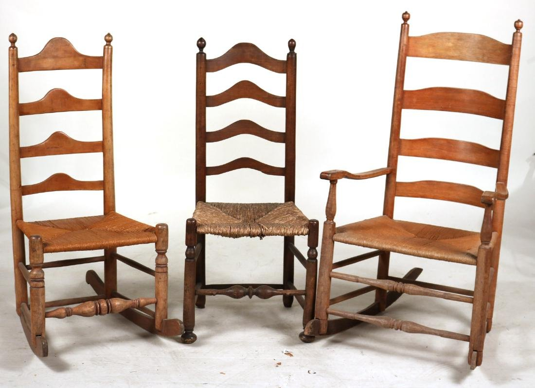 TWO LADDERBACK ROCKING CHAIRS