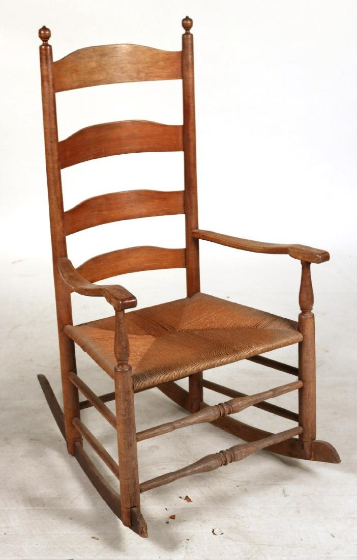 TWO LADDERBACK ROCKING CHAIRS - 4
