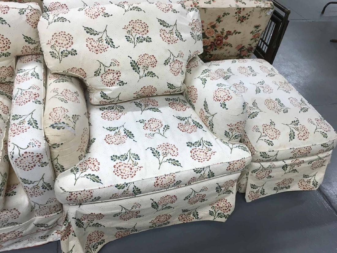 UPHOLSTERED ARMCHAIR, OTTOMAN, AND LOVE SEAT - 3