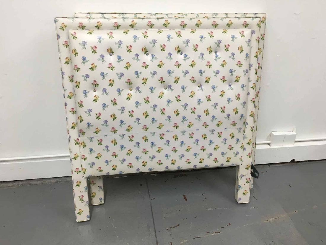PAIR OF FLORAL DECORATED TWIN-SIZE HEADBOARDS