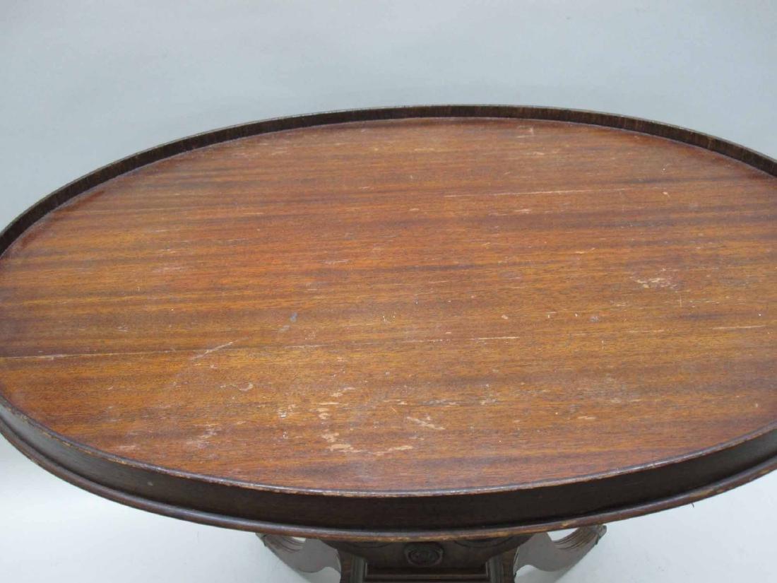 MAHOGANY LYRE-BASE END TABLE - 4