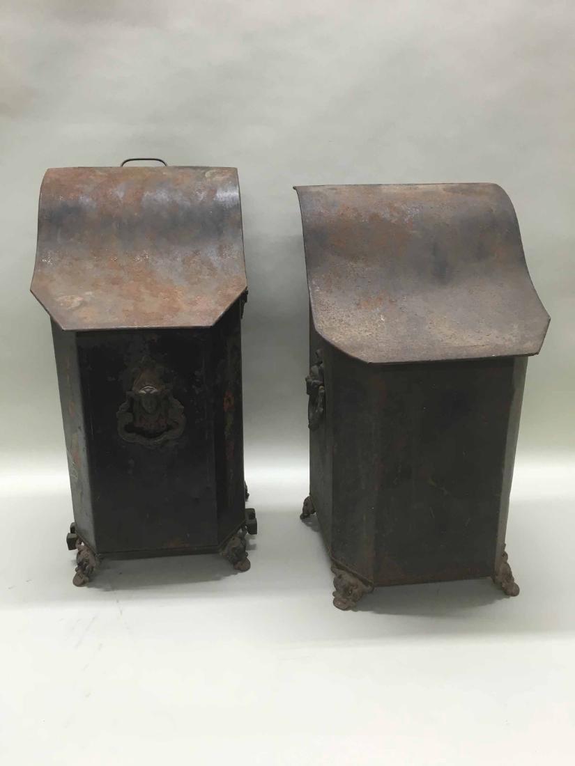TWO SIMILAR TOLE PEINTE COAL SCUTTLES - 3