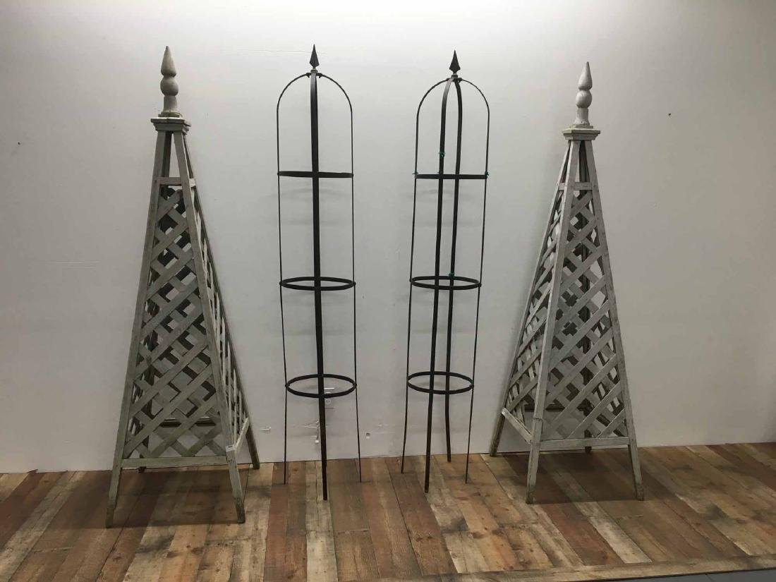 TWO PAIRS OF TOPIARY STANDS