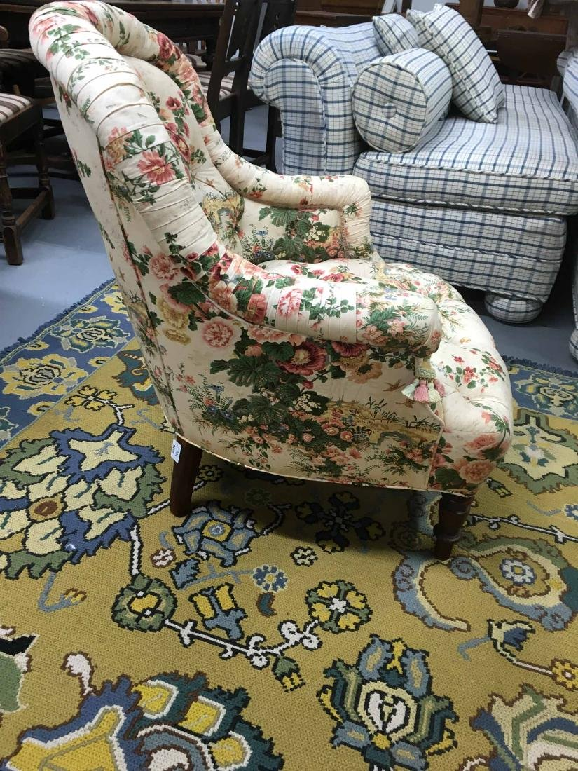 VICTORIAN STYLE UPHOLSTERED TUB CHAIR - 2