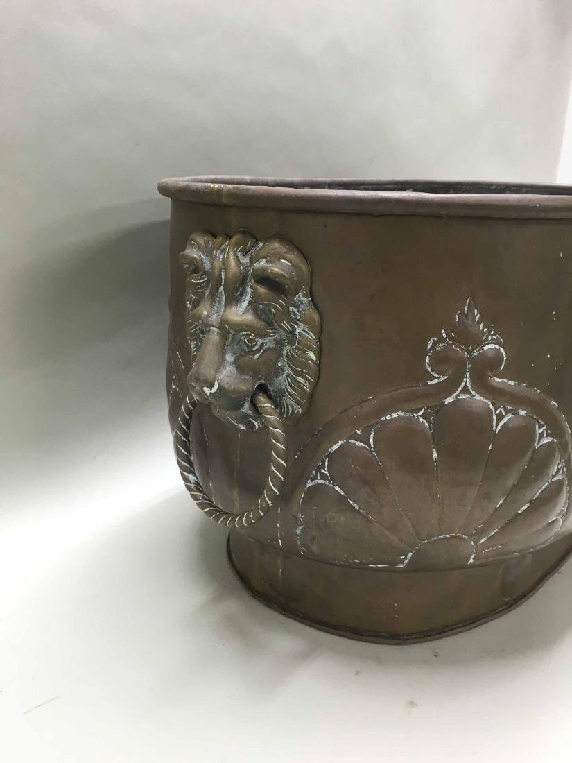 BRASS PLANTER WITH LION HEAD HANDLES - 2