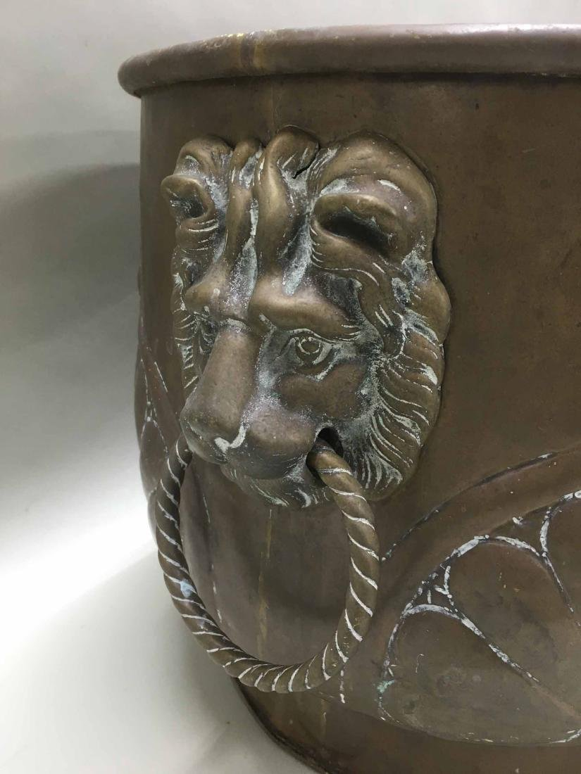 BRASS PLANTER WITH LION HEAD HANDLES - 3