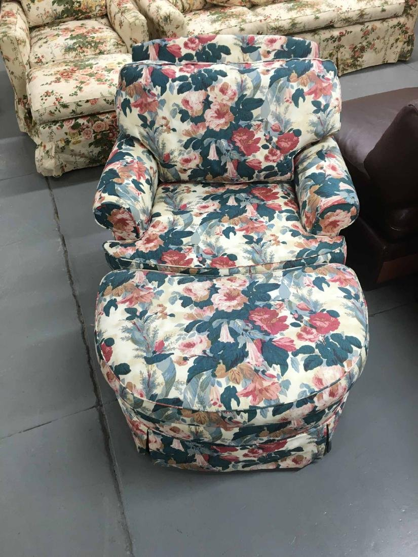 FLORAL-UPHOLSTERED CLUB CHAIR AND OTTOMAN
