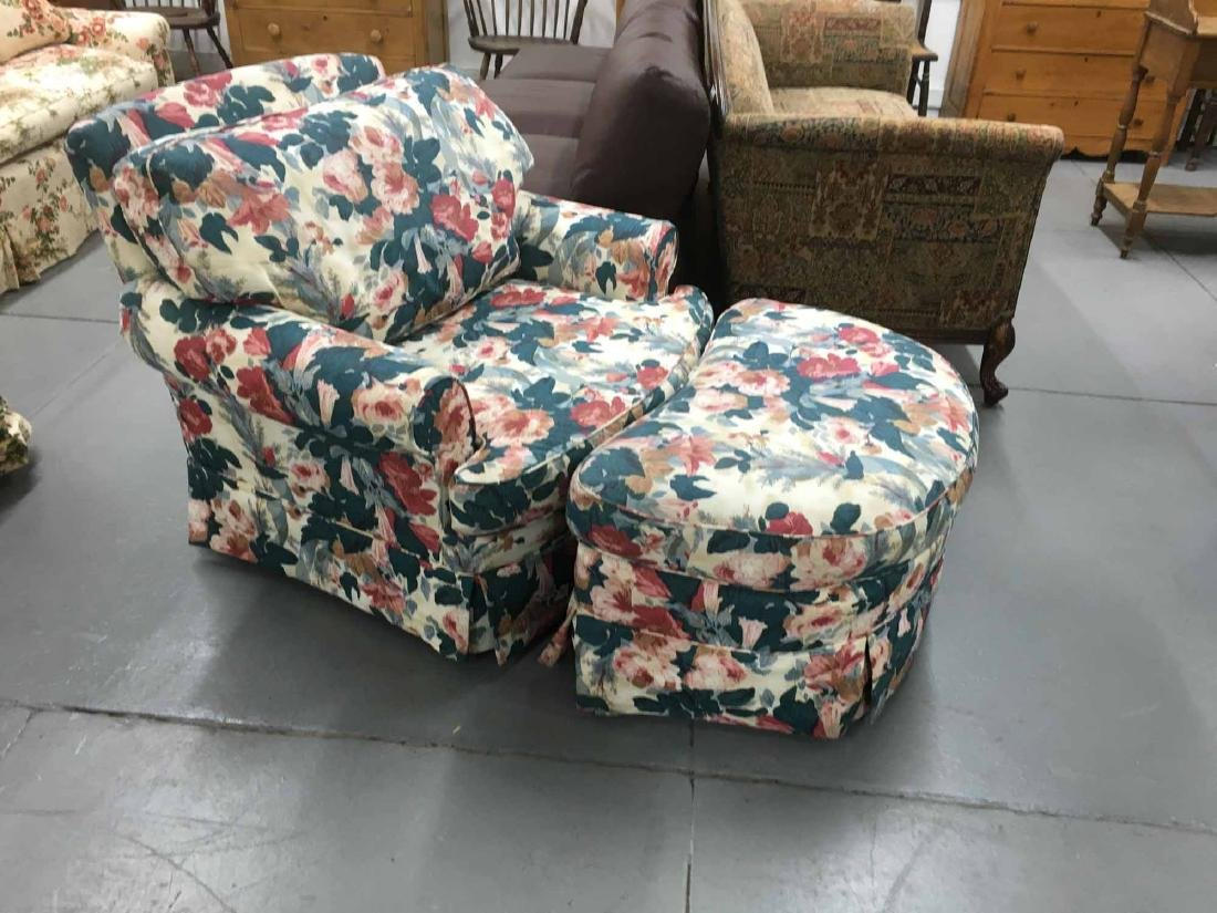 FLORAL-UPHOLSTERED CLUB CHAIR AND OTTOMAN - 2