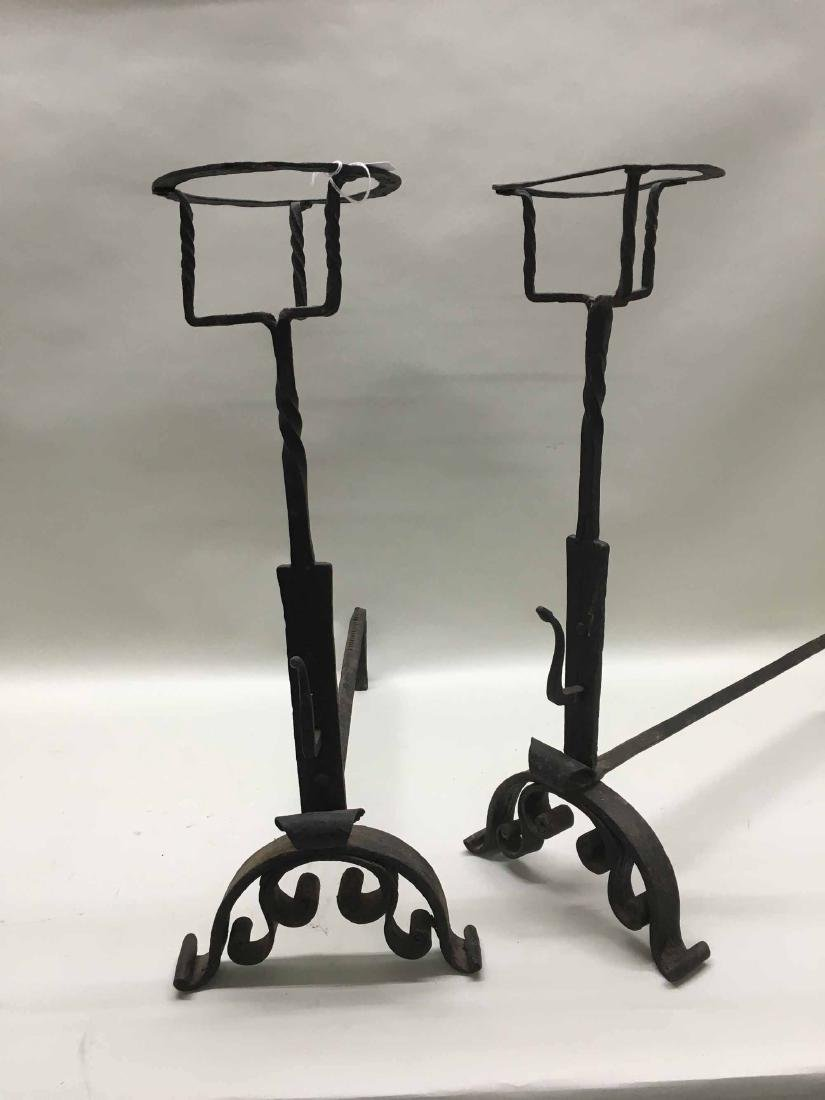 PAIR OF BAROQUE-STYLE WROUGHT IRON ANDIRONS