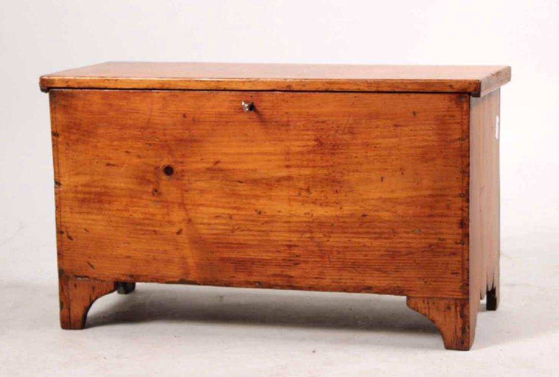 STAINED PINE DIMINUTIVE BLANKET CHEST