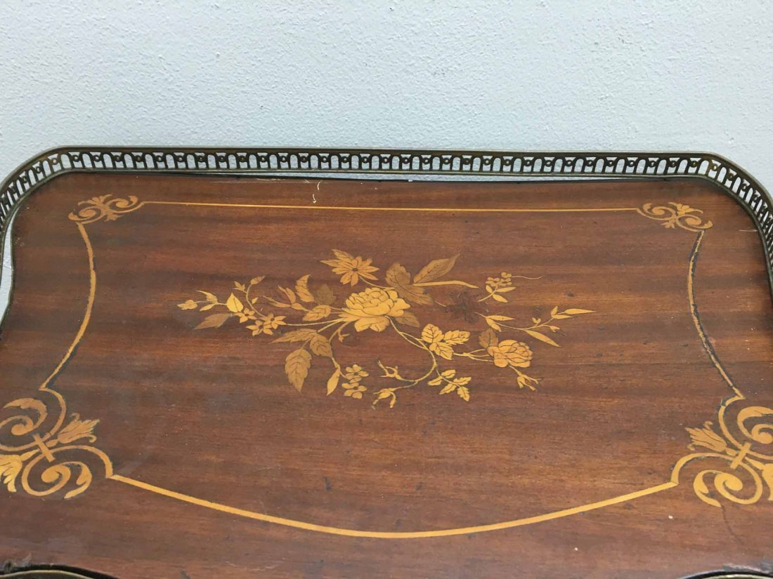 MARQUETRY INLAID MAHOGANY STAND - 3