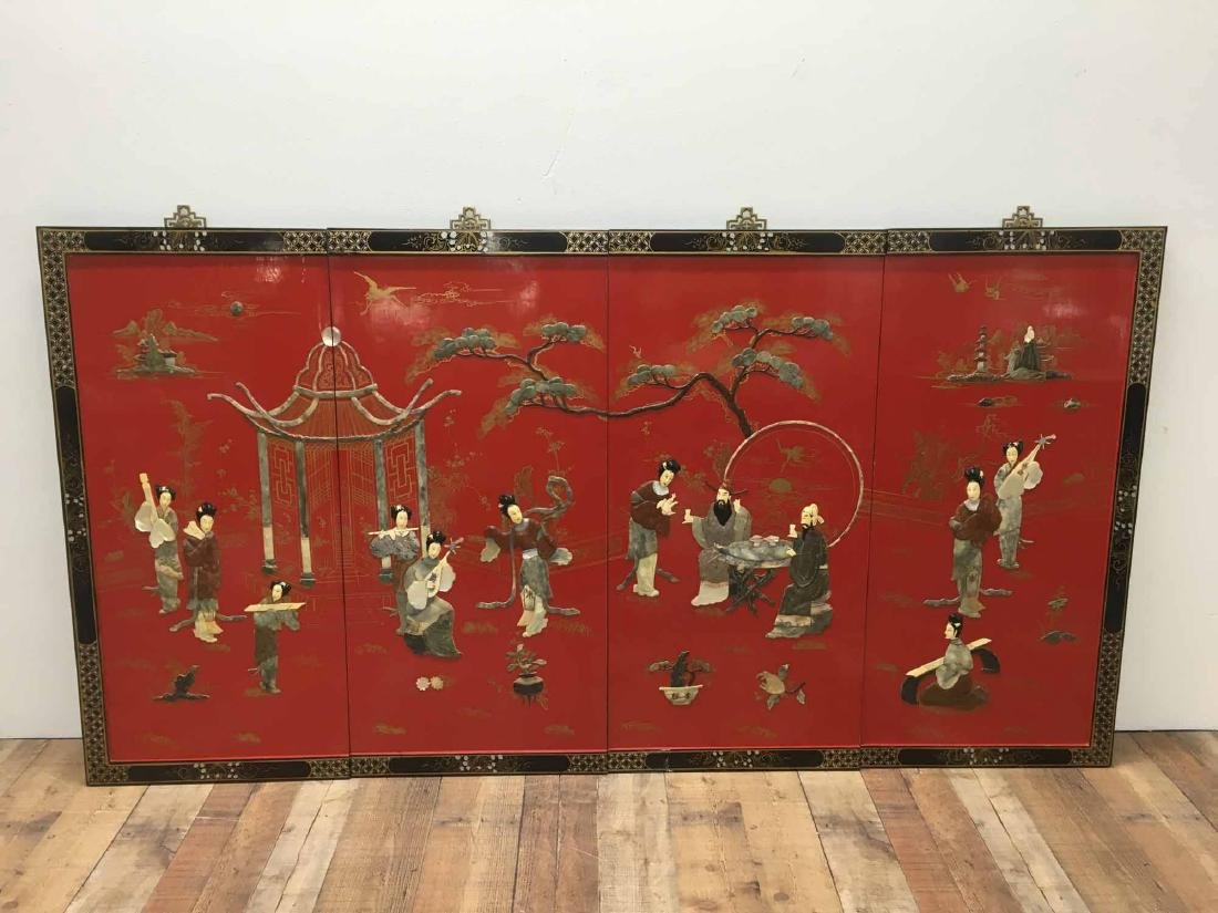 JAPANESE RED LACQUERED FOUR PANEL SCREEN
