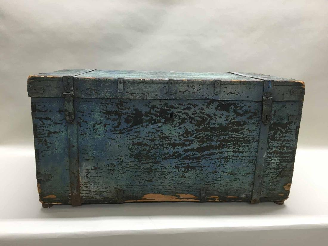 LARGE BLUE PAINTED TRUNK