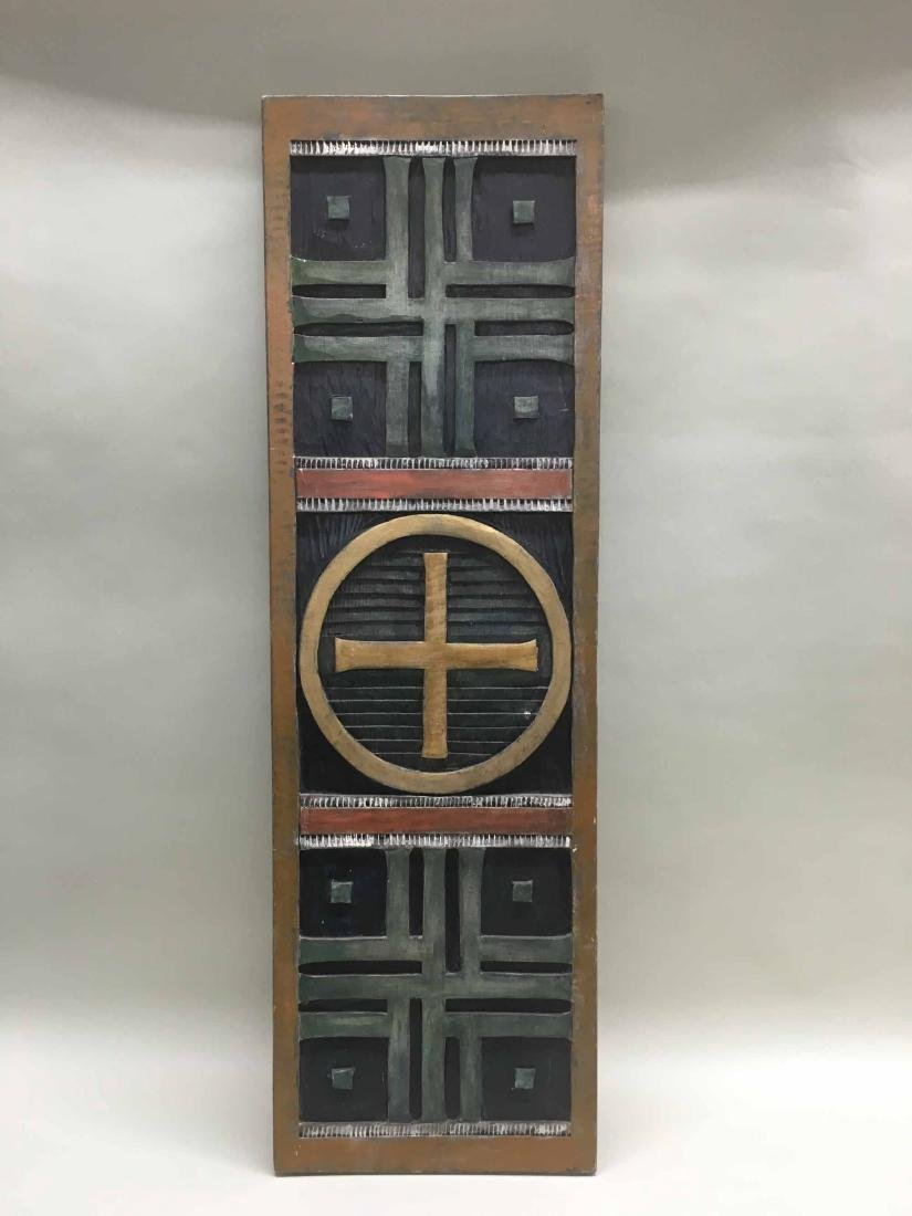 MODERN ABSTRACT BAS RELIEF ON WOOD