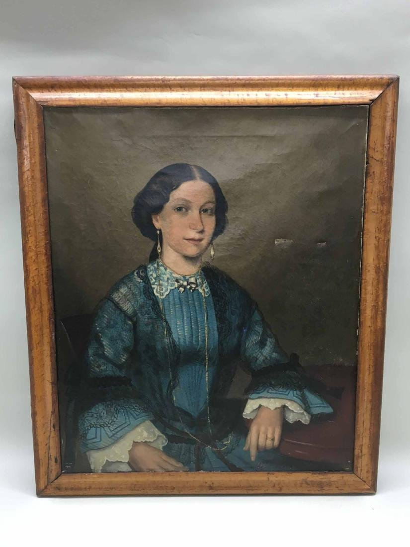 OIL ON CANVAS PORTRAIT OF MARRIED WOMAN