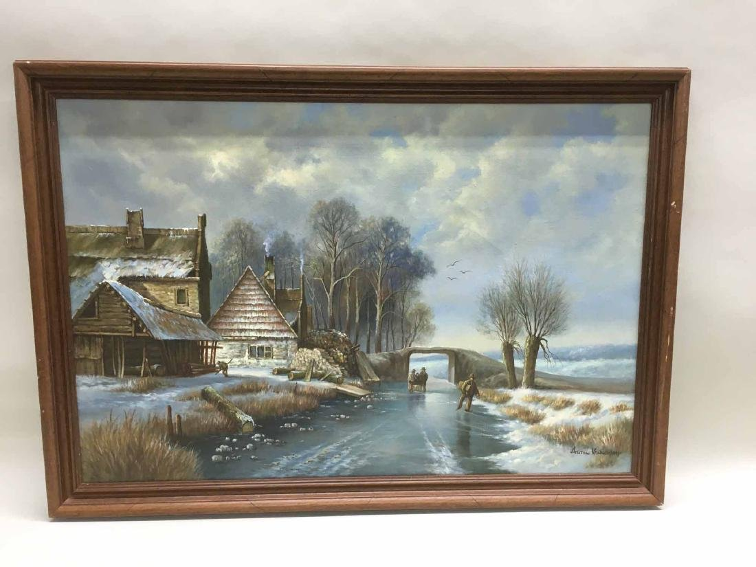 OIL ON CANVAS OF WINTER STREAM SIDE HOMESTEAD
