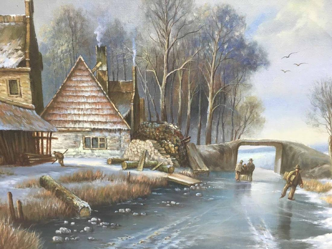 OIL ON CANVAS OF WINTER STREAM SIDE HOMESTEAD - 2