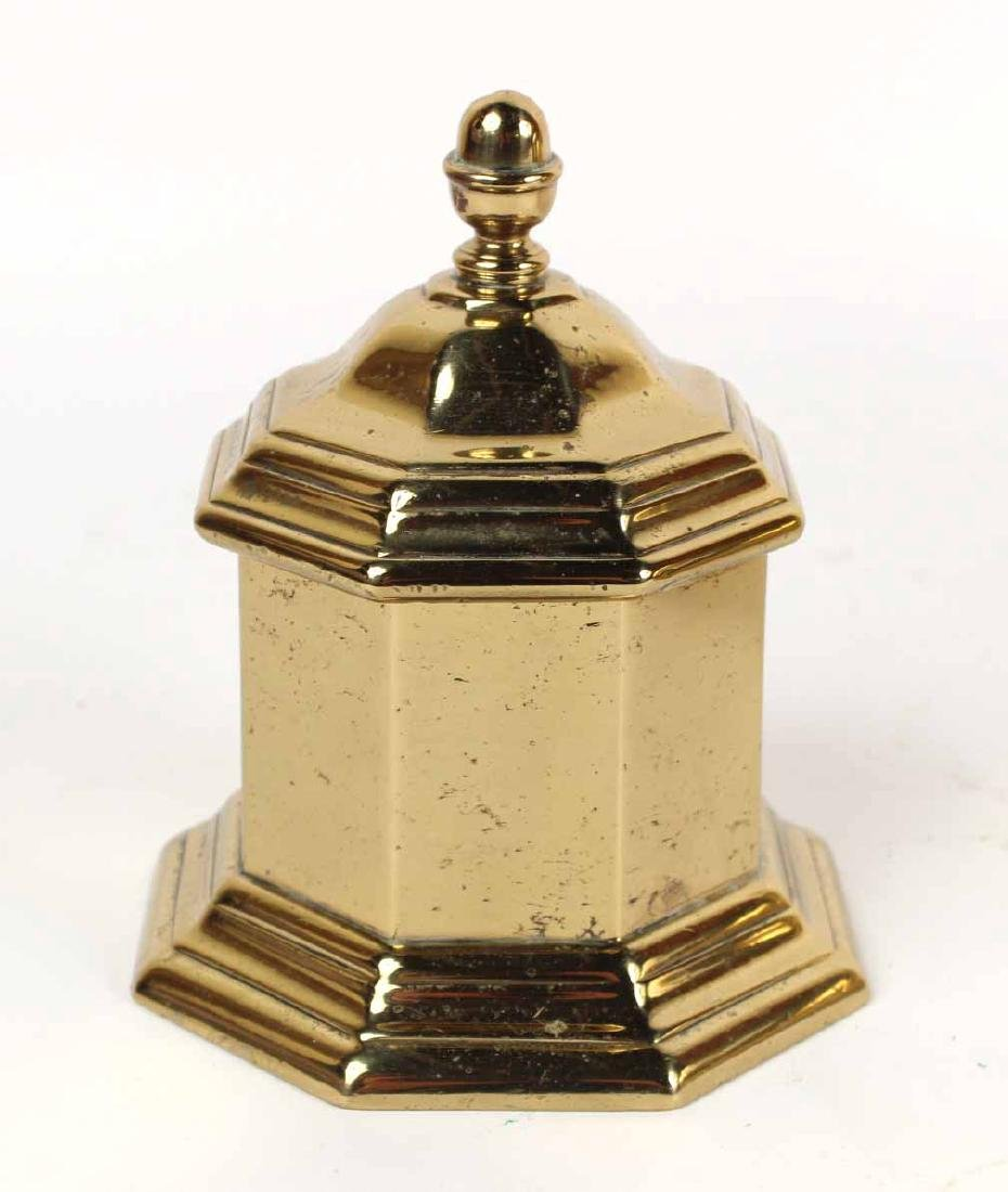 BRASS OCTAGONAL TEA CADDY - 5