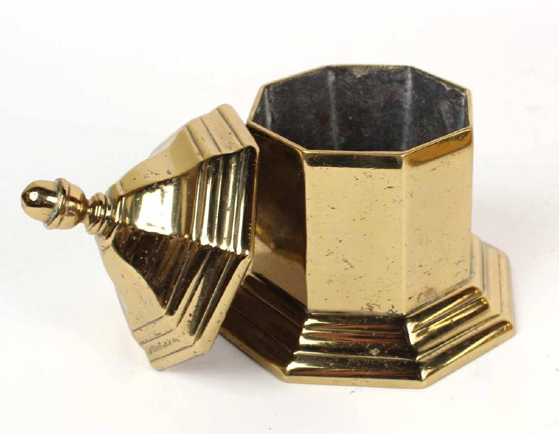 BRASS OCTAGONAL TEA CADDY - 6