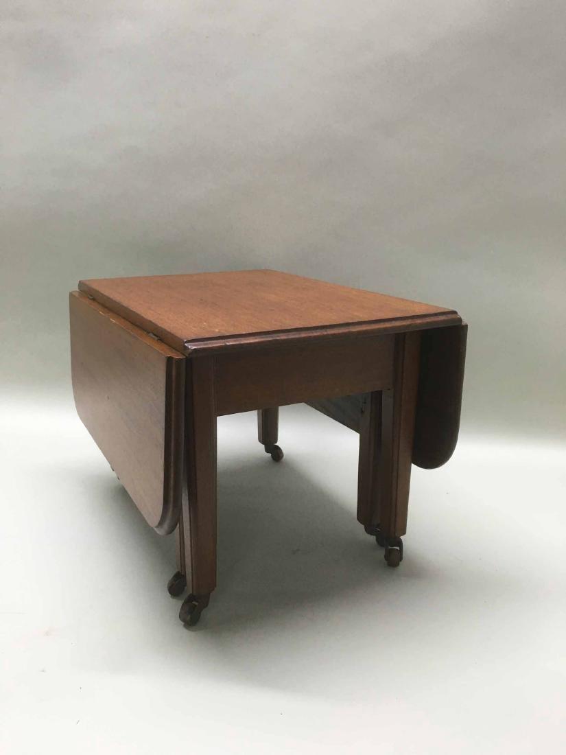 DIMINUTIVE WALNUT DROP LEAF TABLE - 3