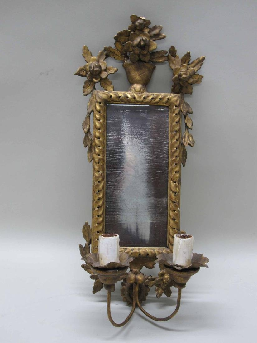GILTWOOD MIRRORED TWO ARM WALL SCONCE