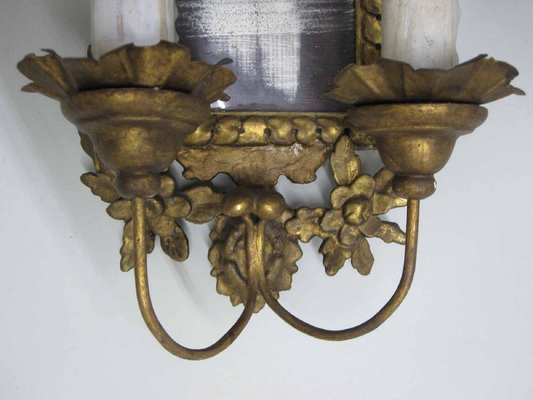 GILTWOOD MIRRORED TWO ARM WALL SCONCE - 3