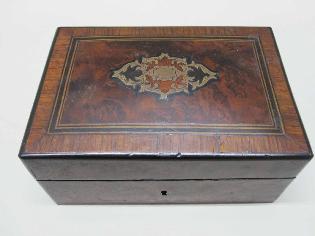 VICTORIAN CARVED AND INLAID WOOD SEWING BOX