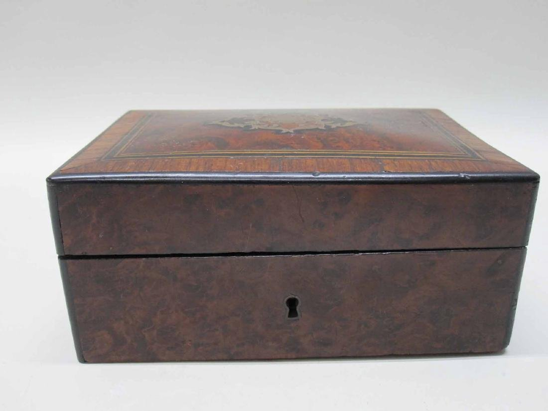 VICTORIAN CARVED AND INLAID WOOD SEWING BOX - 2