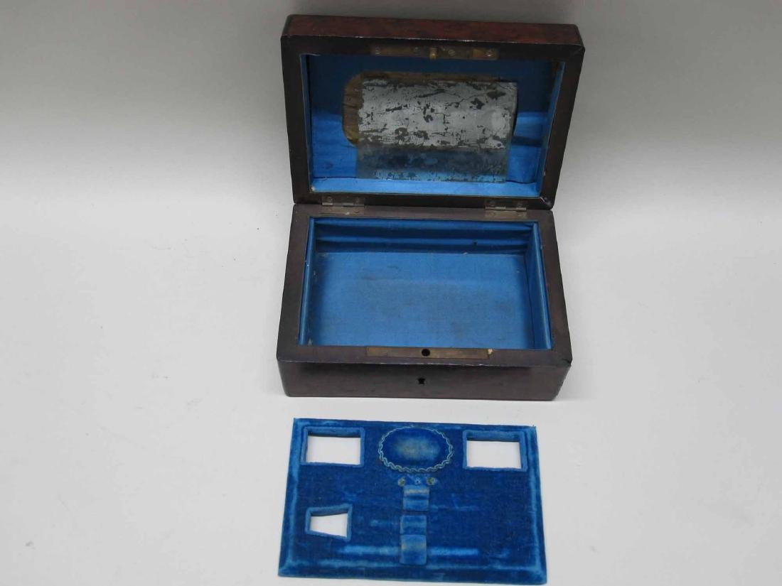 VICTORIAN CARVED AND INLAID WOOD SEWING BOX - 4