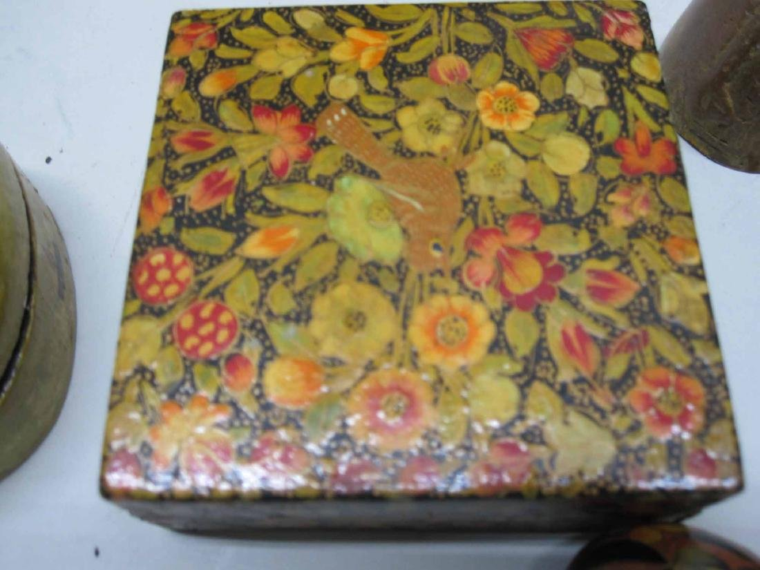 GROUP OF PAINTED DECORATED BOXES AND EGGS - 3