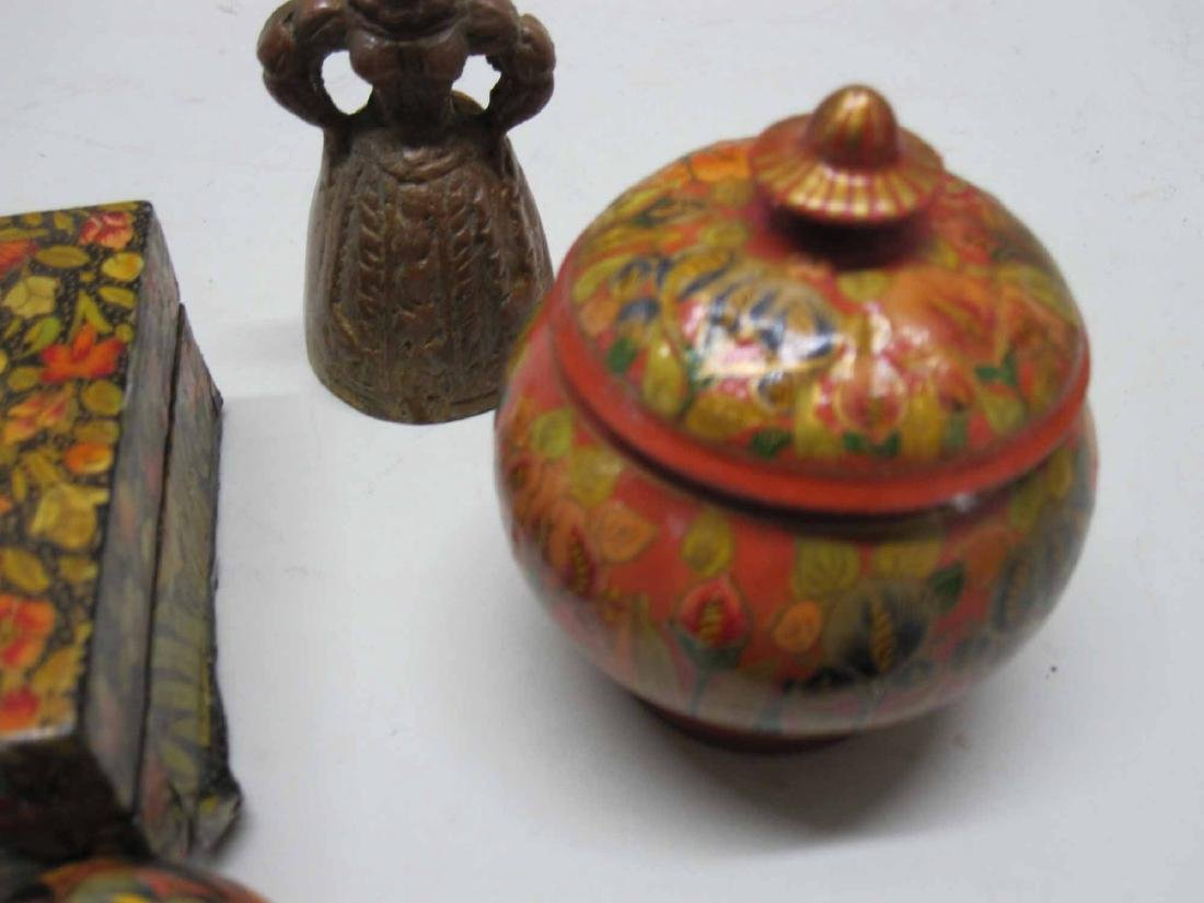 GROUP OF PAINTED DECORATED BOXES AND EGGS - 4