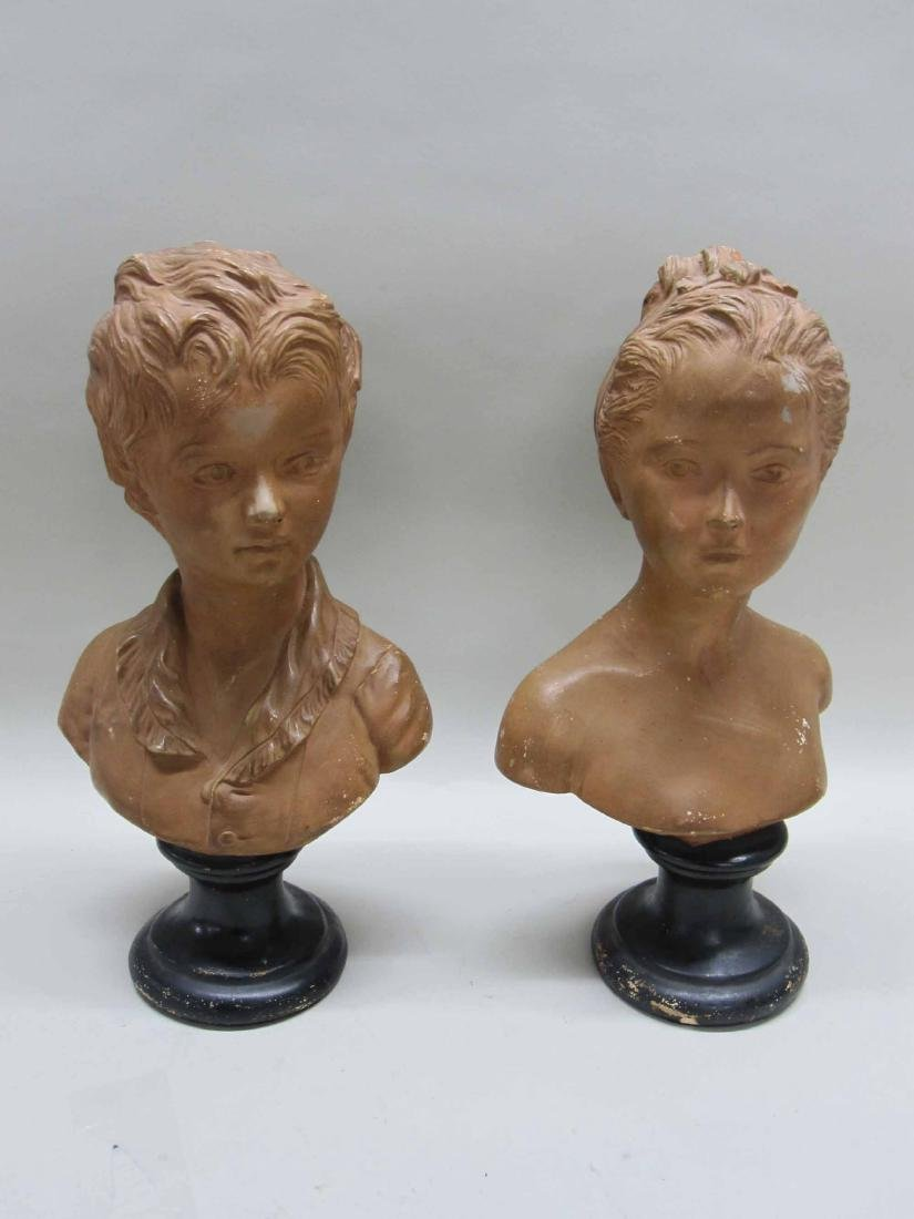 TWO COMPOSITION BUST OF YOUNG GIRL AND BOY