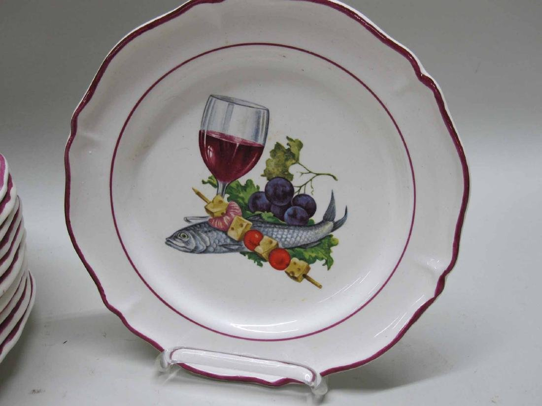 SET OF 12 FRENCH COCKTAIL PLATES
