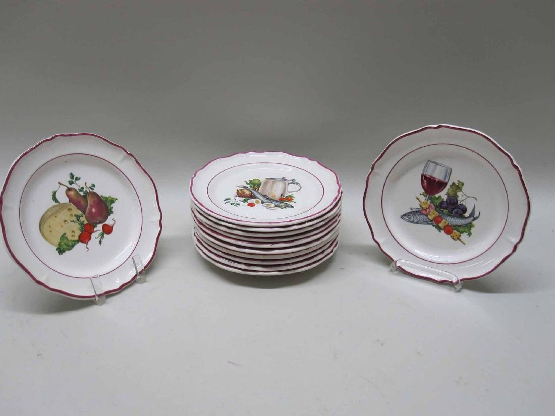 SET OF 12 FRENCH COCKTAIL PLATES - 2