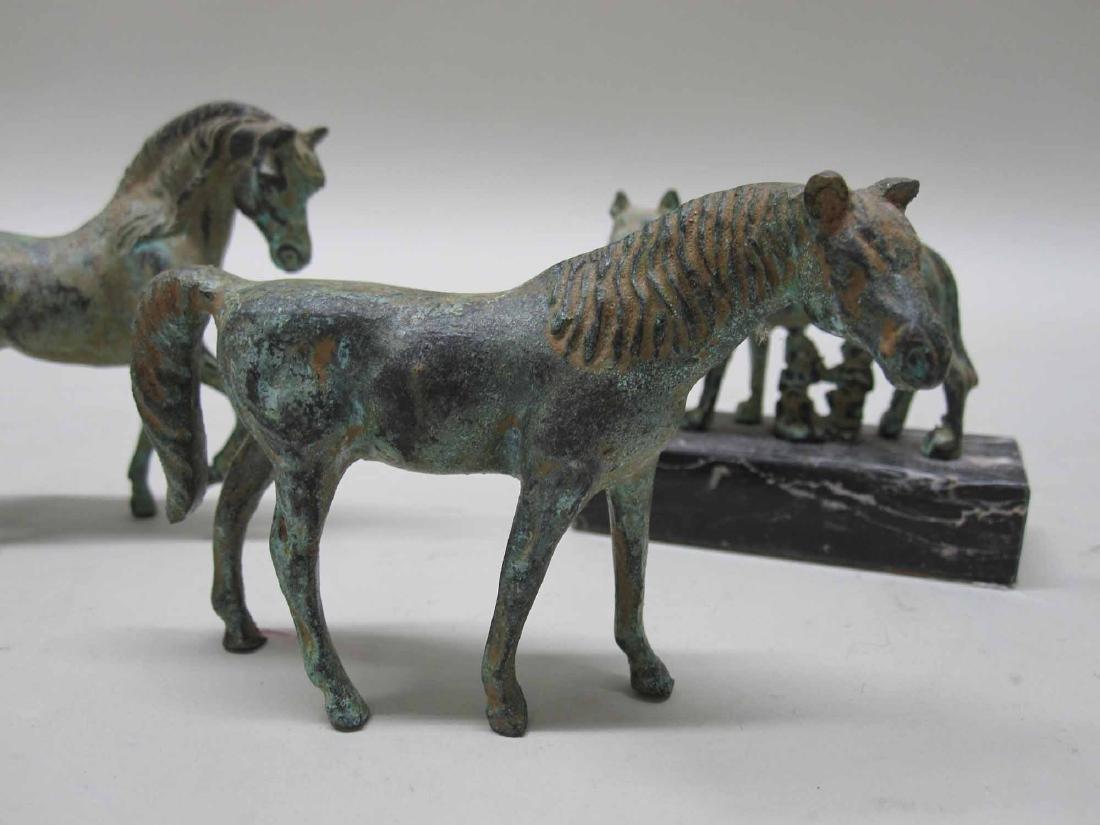 THREE BRONZE MINIATURE HORSES