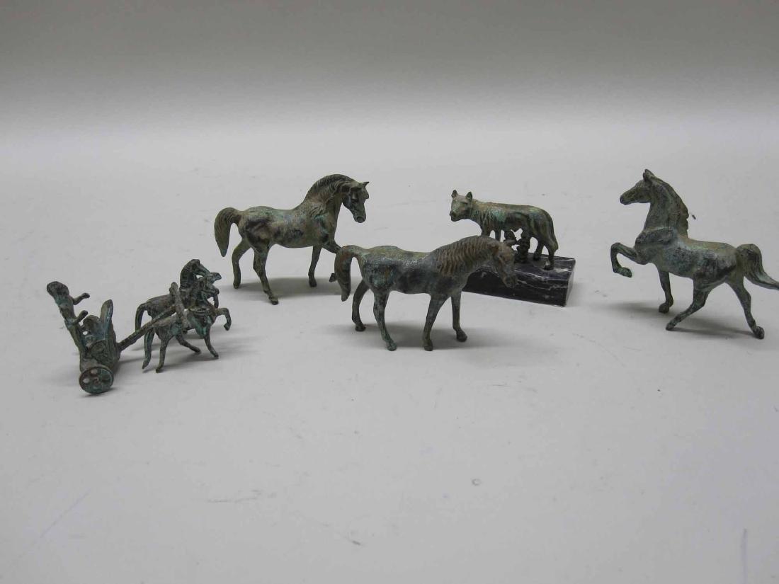 THREE BRONZE MINIATURE HORSES - 2