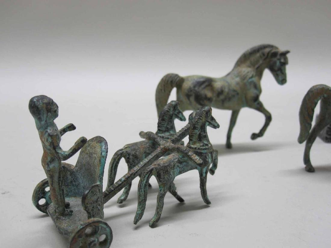 THREE BRONZE MINIATURE HORSES - 3