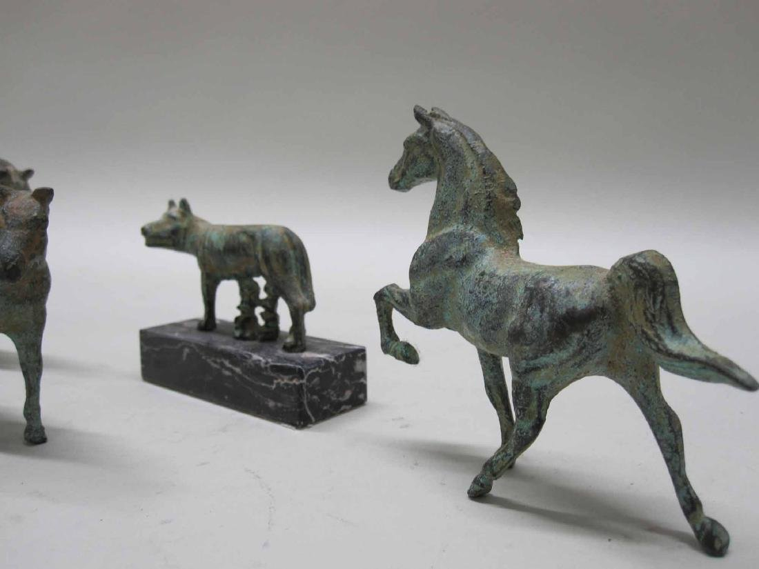 THREE BRONZE MINIATURE HORSES - 4