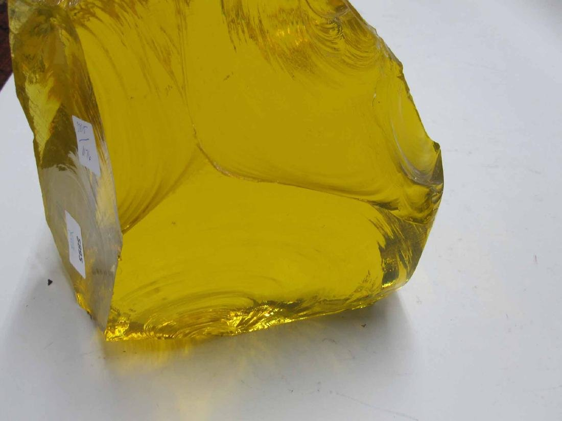 LARGE GOLDEN YELLOW PIECE OF SLAG GLASS - 4