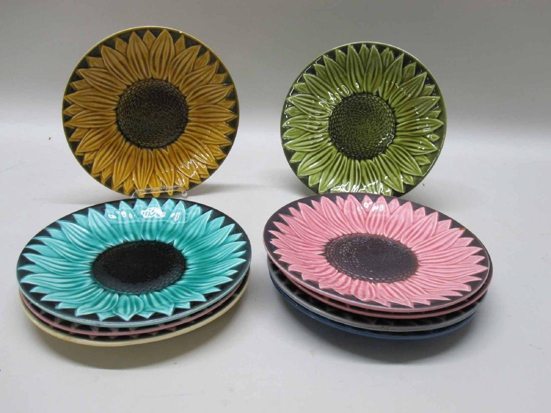 SET OF 9 FRENCH FLORAL PLATES - 2
