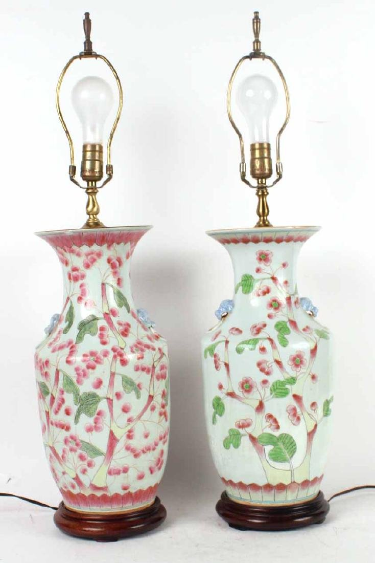Two Green-and-Pink Glazed Porcelain Vases