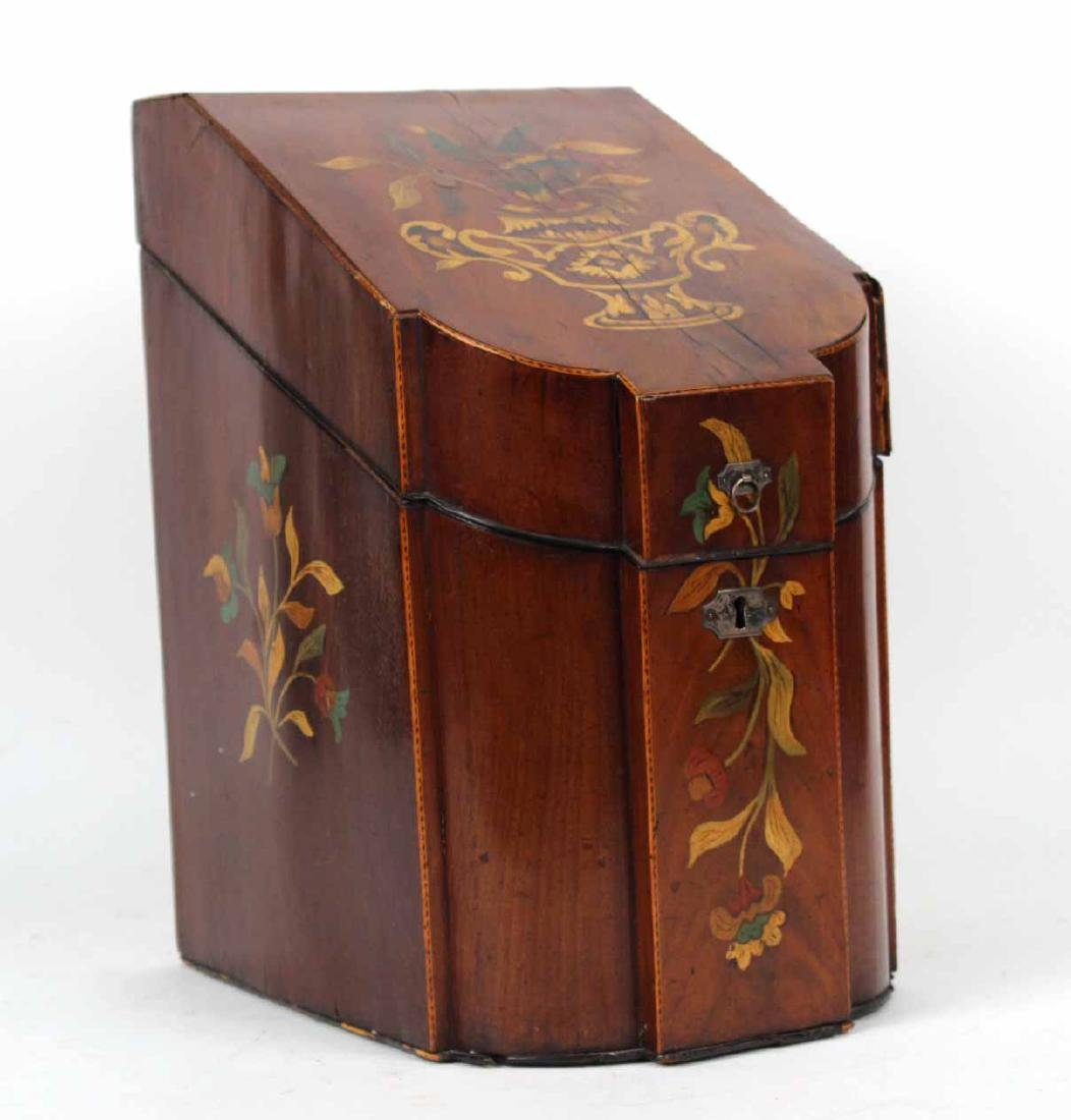 George III Paint-Decorated Mahogany Knife Box