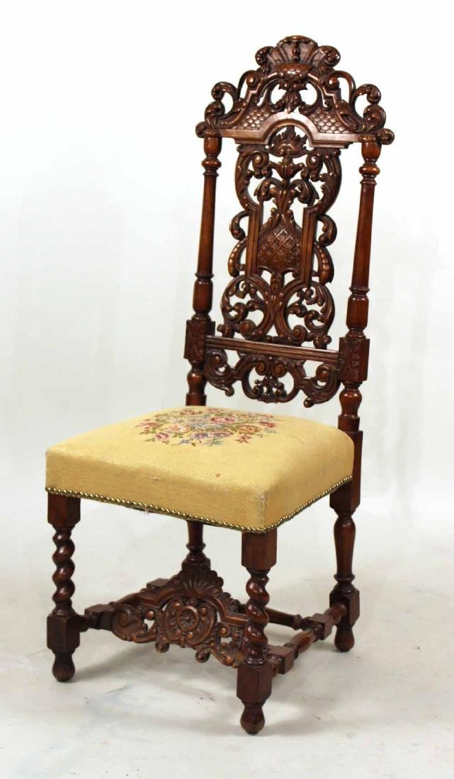 Baroque Style Carved and Turned Backstool